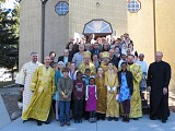 Parish family with His Grace Bishop Ilarion